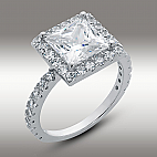 3.85 CT Princess Cut Halo Engagement Ring 14K White Gold