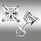 2.00CT PRINCESS CUT STUD EARRINGS SCREW BACK 14K WHITE GOLD