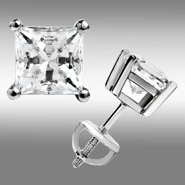 color cut clarity earrings solitaire jewelry amazon diamond com princess platinum back carat prong screw stud dp j i