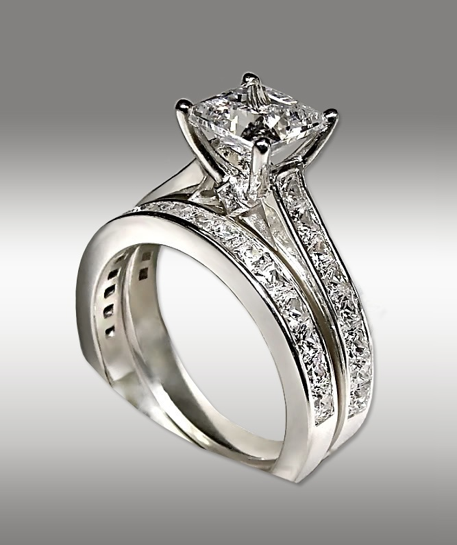 3.72Ct-Princess-Cut-Engagement-Ring-&-Matching-Wedding