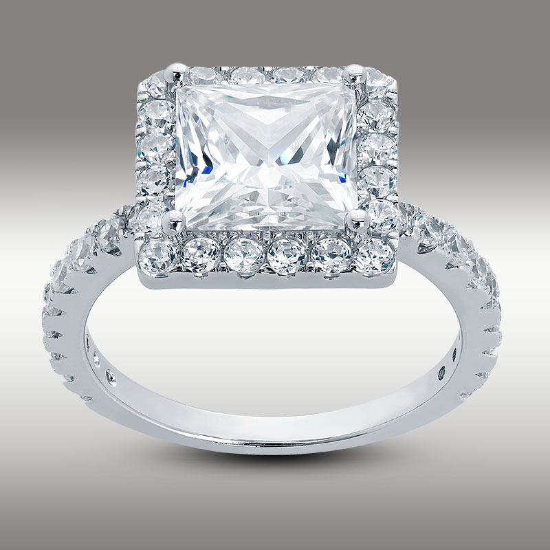 3.50 CT Princess Cut Halo Engagement Ring 14K White Gold