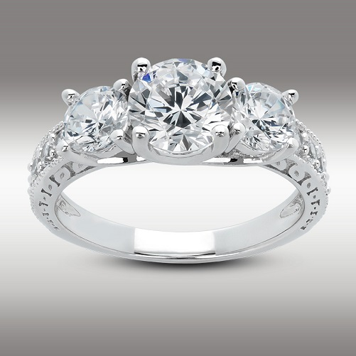 Three Stone Engagement Ring 2.61 Ct Round Brilliant with Accents in 14K White Gold