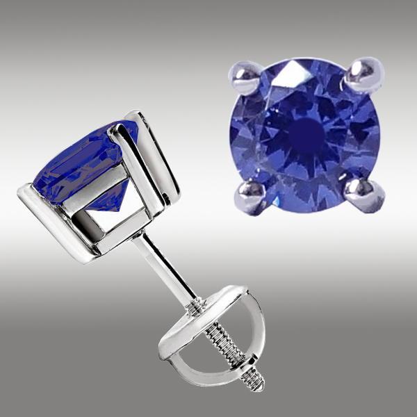 1 CT TANZANITE STUD EARRINGS SCREW BACK 14K WHITE GOLD 5 MM Great Holiday Gift