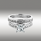 3.72Ct Princess Cut Engagement Ring & Matching Wedding Band 14K Solid White Gold