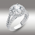 Split Shank Pave Halo Engagement Ring Brilliant Round cut 3.00 Ct in 14K White Gold Hearts and Arrows