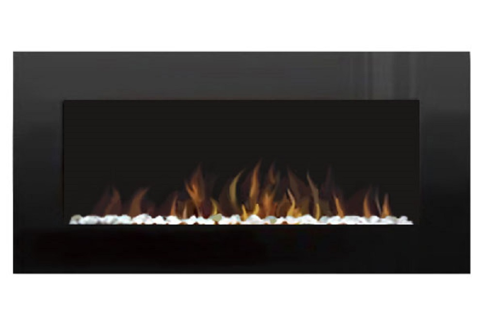"""48"""" Electric Wall Mount Fireplace Crystal Black Glass with Pebbles AMBIONAIR FLAME EF 4800 BPWL"""