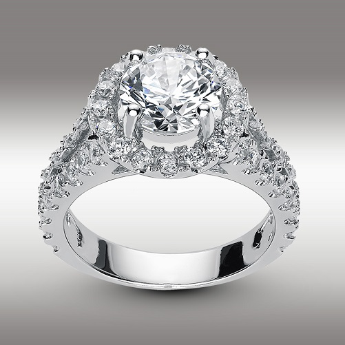 Split Shank Pave Halo Engagement Ring Brilliant Round cut 3.44 Ct in 14K White Gold Hearts and Arrows